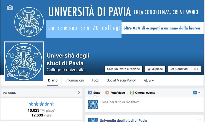 """La pagina Facebook dell'Università di Pavia ha superato i 10.000 """"Mi piace"""""""