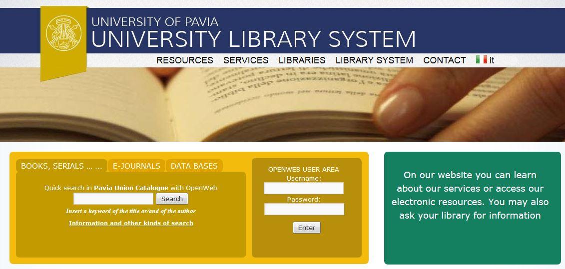 Versione in inglese del portale del Sistema Bibliotecario di Ateneo