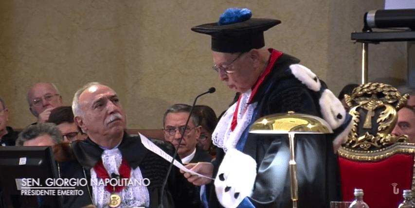 Lectio Doctoralis del Presidente Emerito Sen. Giorgio Napolitano (Video)