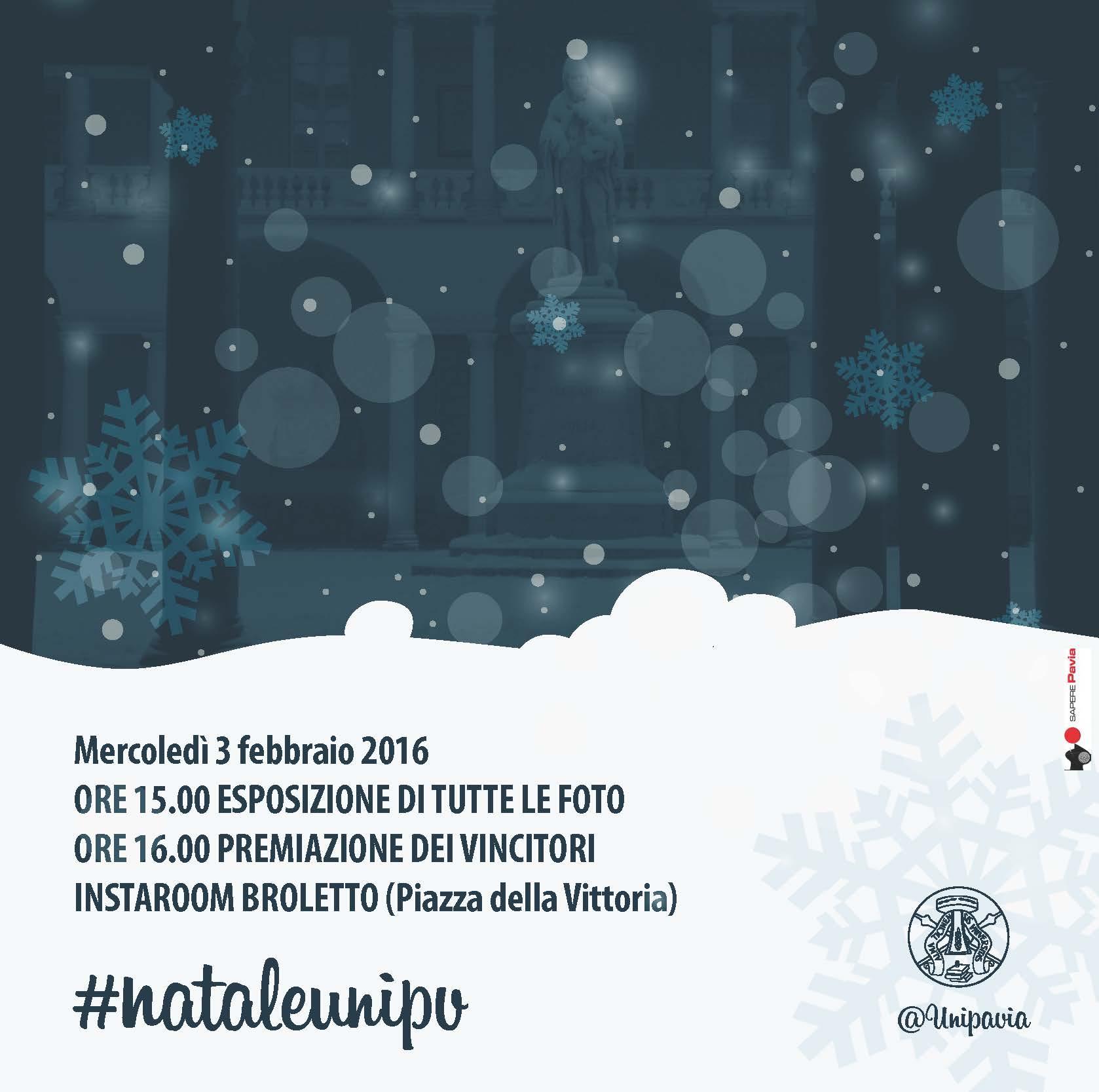 3 febbraio - Premiazione del II Contest Instagram #nataleunipv