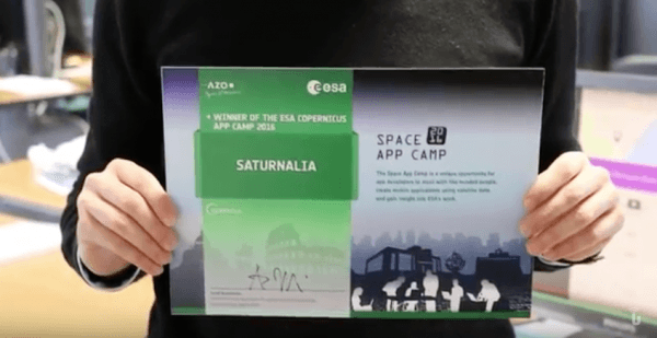 Dottorando dell'Università di Pavia vince lo Space App Camp 2016 (Video)