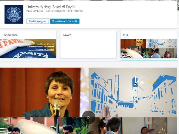 """Nuova pagina """"Vita"""" dell'Università di Pavia su LinkedIn"""