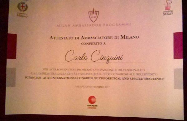 Prof. Carlo Cinquini UNIPV nominato Ambasciatore della città di Milano per Congresso ICTAM 2020