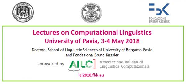 3 e 4 maggio – Lezioni di Linguistica Computazionale / Lectures on Computational Linguistics