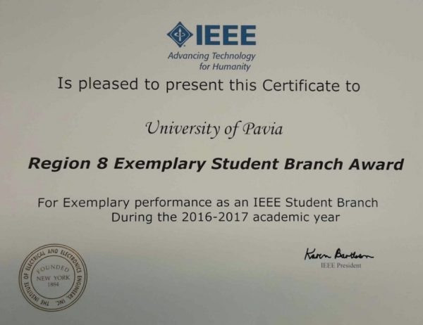 """Region 8 Exemplary Student Branch Award"" all'Università di Pavia"