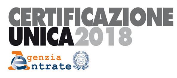 Avviso Certificazione Unica 2018, riferita all'anno 2017