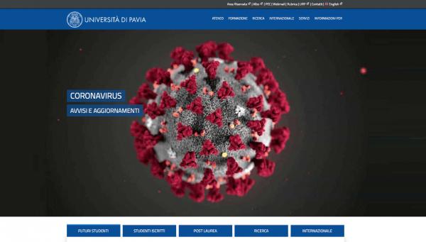 Avvisi e aggiornamenti Coronavirus: Nuova versione home page sito UniPV