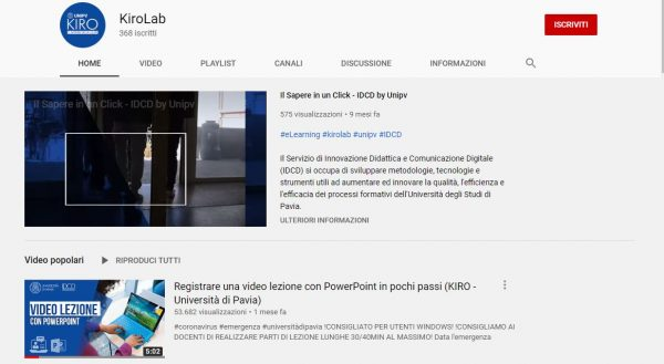 Video KIRO Unipv scelto dall'Istituto Nazionale di Documentazione, Innovazione e Ricerca Educativa