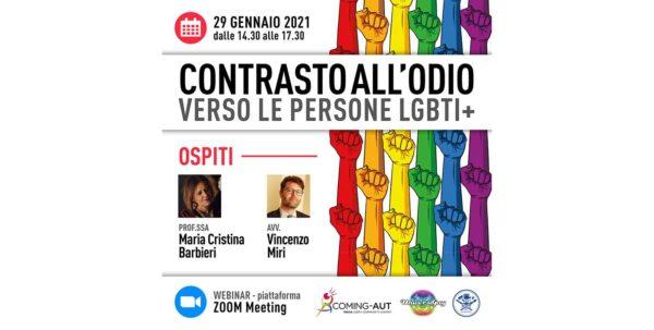 29 gennaio - Contrasto all'odio verso le persone LGBTI+