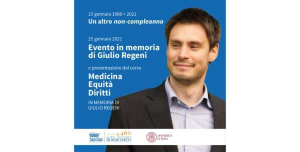 """25 gennaio - Evento in memoria di Giulio Regeni e presentazione del corso """"Medicina Equità Diritti"""", a lui dedicato"""